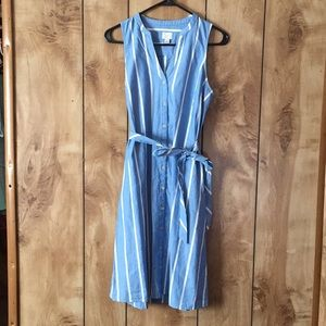 Women's blue and white, striped, button up dress